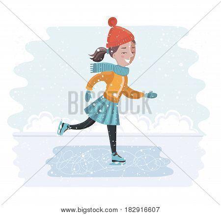 Vector carton funny illustration of cute girl skates in winter landscape. Snowy winter weather