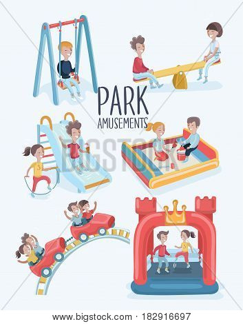 Vector cartoon set of funny illustrations of kins scenes at the playground in the park. Outdoor summeramusement. Isolated in white background