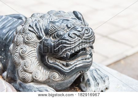 Henan, China - Nov 09 2015: Lion Statue At Shaolin Temple(world Heritage Site). A Famous Historic Si