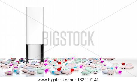 3D illustration of a glass of water and many pills and tablets around it. Concept of overmedication over white background.