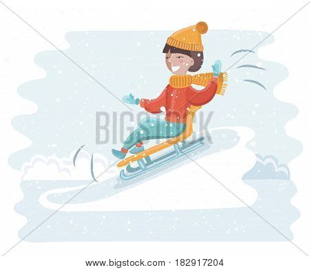 Vector cartoon funny illustration of girl sledding on the snow. Winter fun in snowy landscape