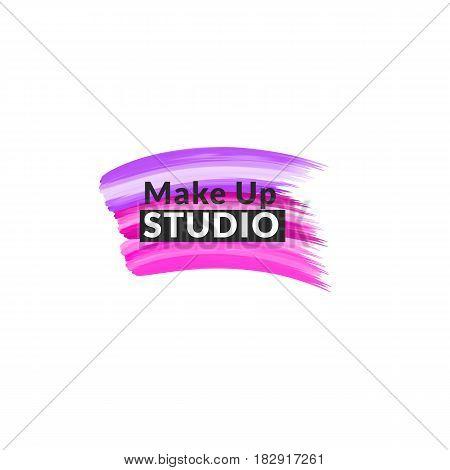 Makeup studio logo design template. Vector logotype layout. Stylist, makeup artist , beauty salon emblem template