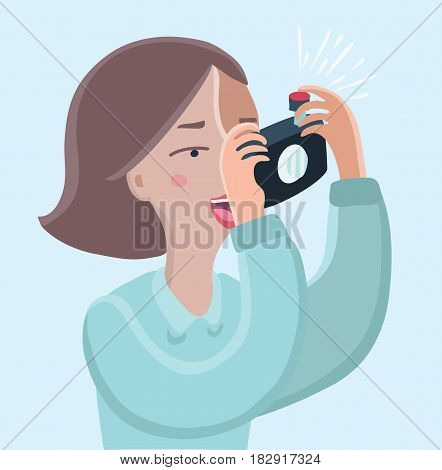 Vector cartoon funny illustration of woman taking a photo with camera. Close up veiw