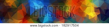 Header. Multicolor Geometric Rumpled Triangular Low Poly Origami Style Gradient Illustration Graphic