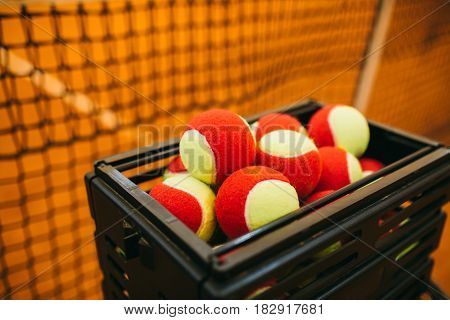 A Lot Of Tennis Balls To Basket Balls, Tennis Court . Grid For Tennis