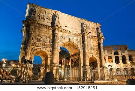 Night view of Arch of Constantine ,Rome ,Italy.