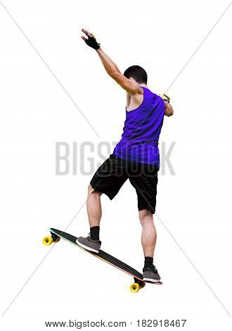 Back view of skater doing a trick on skateboard or longboard isolated on white