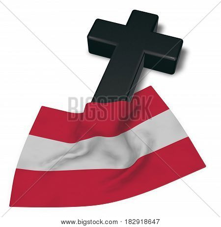 christian cross and flag of austria - 3d rendering