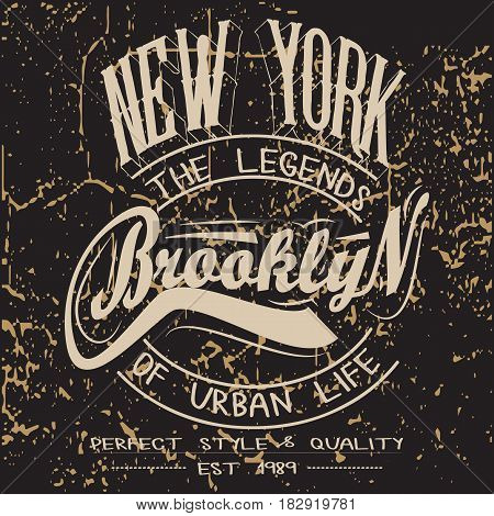 Denim typography, t-shirt graphics, Artwork apparel stamp. New York City Typography. Vintage wear tee print design