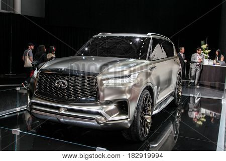 NEW YORK- APRIL 12: Infiniti QX 80 shown at the New York International Auto Show 2017, at the Jacob Javits Center. This was Press Preview Day One of NYIAS, on April 12, 2017 in New York City