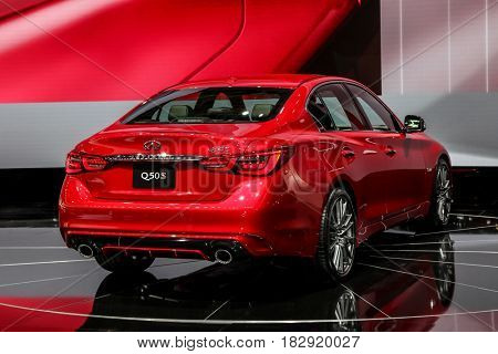 NEW YORK- APRIL 12: Infiniti Q50 S shown at the New York International Auto Show 2017, at the Jacob Javits Center. This was Press Preview Day One of NYIAS, on April 12, 2017 in New York City
