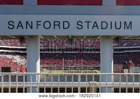 Athens United States: November 26th 2016: Sanford Stadium Sign Overlooking Field on a Georgia Game Day