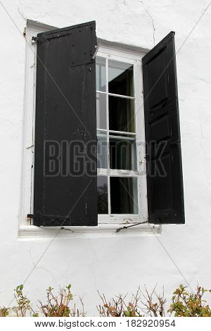 Vertical image of window with black shutters open to the world
