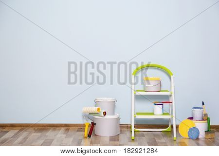 Set for wall painting in empty room