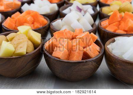 Sweet Potato Cubes In Brown Bowl
