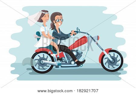 Vector illustration of wedding young couple riding the motorcycle. The long-haired guy with glasses and jeans and cute girl in short dress and vest on white isolated background.