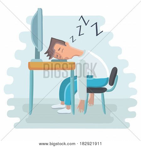 Vector cartoon illustration of tired employee sleeping at workplace on laptop keyboard