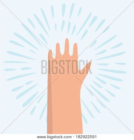 Vector cartoon funny illustration of open the palm of the hand