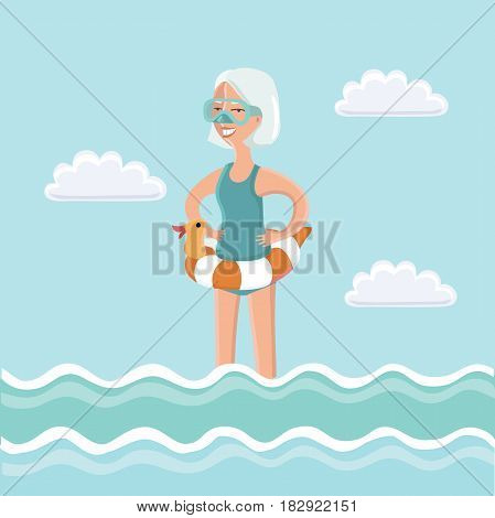 Vector illustration of elderly woman standing in sea water with diving mask on her face and diving tube in his hand