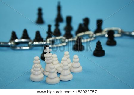 Fear from refugees concept. Chess pieces symbolize migration borders christianity and islam cultures immigration crisis.