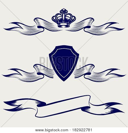 Hand sketched ribbon banners collection. Vector ballpoint pen drawing ribbons with shield and crown