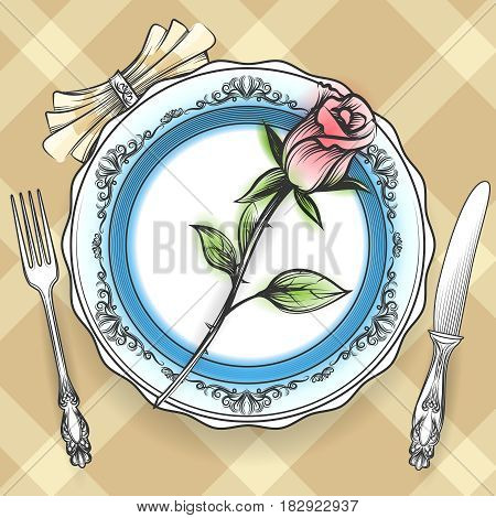 Romantic table setting with plate cutlery napkin and rose on Scottish cell cloth. Vector illustration