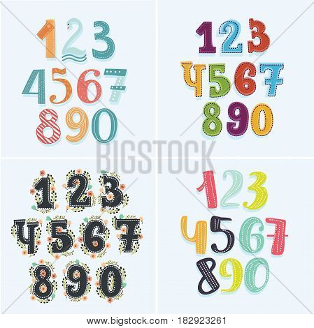 Vector colorful funny of four sets numbers cartoon. Collection of cartoon sighns and floral elements