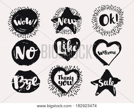 Black and white various vector Labels in hand drewn ink like Useful Symbols in speech bubbles. Like, Ok, New, Wow, No, Like, Sale, Welcome, Thank You, Bye on dark background
