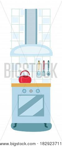 Vector illustration modern electric or gas stove, oven and extractor kitchen hood. House appliance. Kitchen appliance
