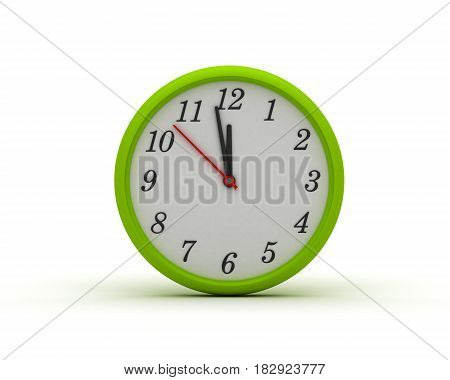 Green Round Wall Clock (computer generated image) 3D Rendering
