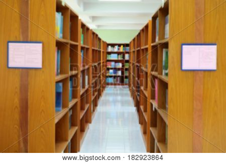 focus blur for library public room and books in shelf