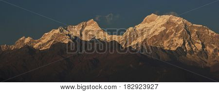 Mountain peaks of the Manaslu range seen from Ghale Gaun Nepal.