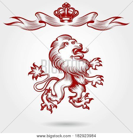 Hand drawn royal lion sketch. Vector red engraving lion and crown ribbons
