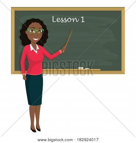 Teacher on lesson in classroom. Young teacher with pointer showing on blackboard. Vector illustration