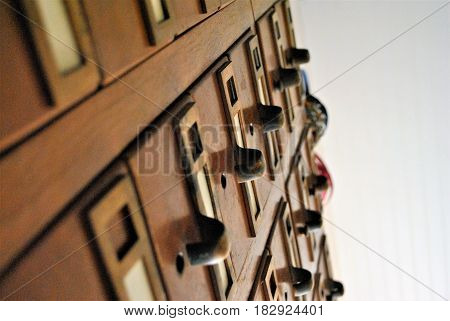 Library card catalog, view from the ground