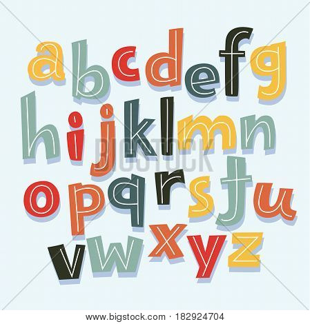 Vector cartoon funny mascot Illustration Featuring Letters of the Alphabet in Lowercase. Sans ABC in different color decorated with stripes in vtage style