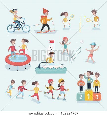 Vector set cartoon  illustration of sports and fitness kids. tennis, football. Relay, riding on skis, winners podium, jumping on a trampoline, sailing, beach volleyball, roller skating, cycling