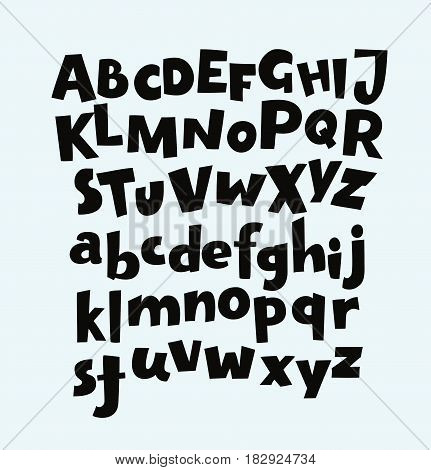 Handwritten bold trendy vector alphabet set. Playful calligraphic characters uppercase, lowercase. Black symbols shapes isolated on white background.