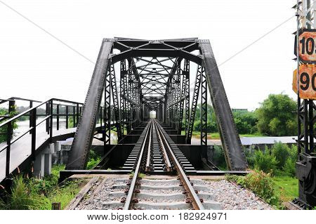 railway bridge across the river on white background select focus with shallow depth of field.