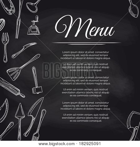 Chalkboard menu poster design with kitchen utensils, vector illustration