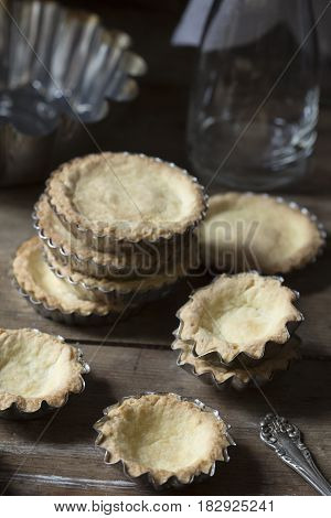 Sweet pastry in baking molds - vintage style