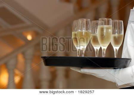 Waiter And Vine Glasses