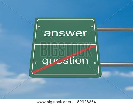 Business Concept Road Sign: Question And Answer 3d illustration