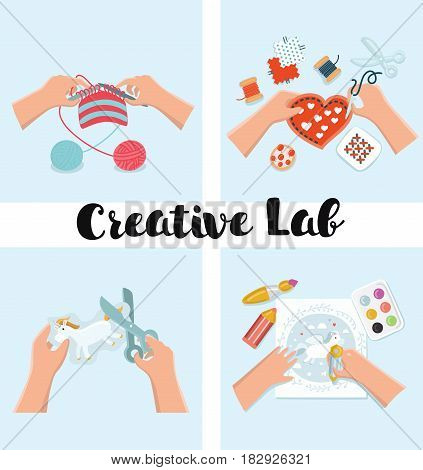 Vector set of illustration of Kids Art-working process. Top view with creative hands. Banner, flyer for kids art lessons or school. Knitting, sewing, embroidery, drawing, painting, crafts, appliqu