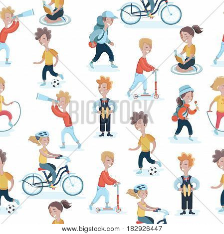 Vector seamless pattern with children in different actions. Kids hobies background