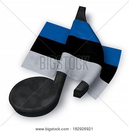music note symbol and estonian flag - 3d rendering