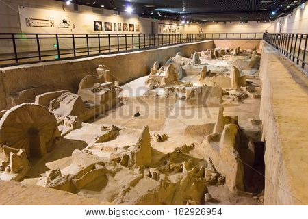 Henan, China - Jul 06 2015: Museum Of Luoyang Eastern Zhou Royal Horse And Chariot Pits . A Famous H