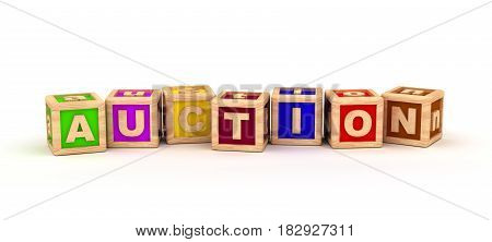 Auction Text Cube (isolated on white) 3D Rendering