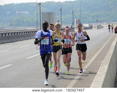 BELGRADE, SERBIA - APRIL 22: A group of marathon competitors during the 30 th Belgrade Marathon on April 22, 2017 in Belgrade, Serbia