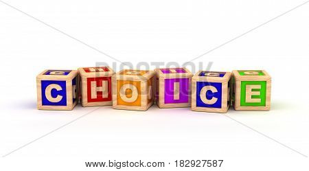 Choice Text Cube (isolated on white) 3D Rendering